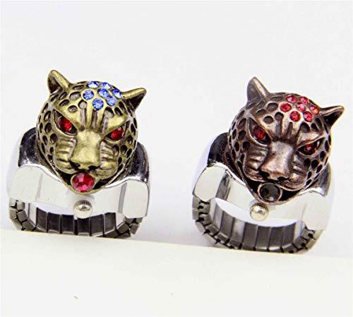 Reloj de pulsera para hombre con diseño de leopardo y diamante, de cuarzo