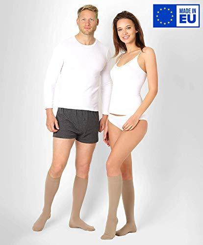 ®BeFit24 Medizinische Kompressionsstrümpfe und Thrombosestrümpfe für Herren und Damen (23-32 mmHg, 120 Den, Klasse 2) - Stützstrümpfe für Flugreisen und Schwangerschaft - Flug Kompressionskniestrümpfe