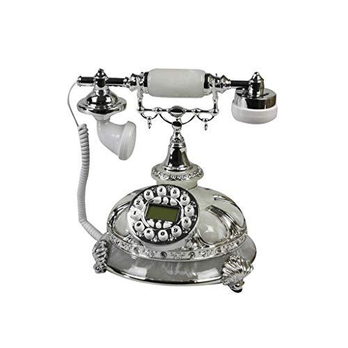 Téléphone fixe ZHJING rétro Antique Fixe Fixe Bureau en métal Fixe (Couleur : Blanc)