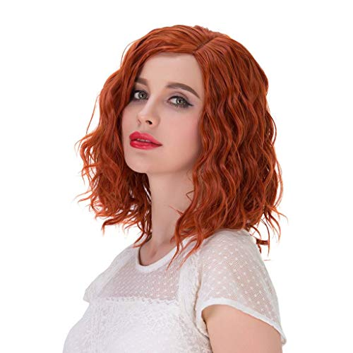 Alacos Fashion 35cm Short Curly Full Head Wig Heat Resistant Daily Dress Carnival Party Masquerade Anime Cosplay Wig +Wig Cap (Orange)