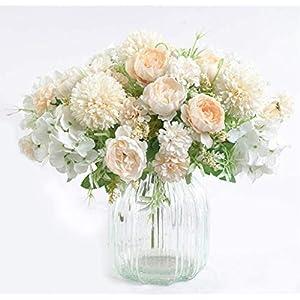 ynh Artificial Flowers, Fake Peony, Silk Hydrangea, Bouquet Decoration, Plastic Carnation, Realistic Floral Arrangement, Wedding Decoration, Table Setting, 2 Pieces (White)