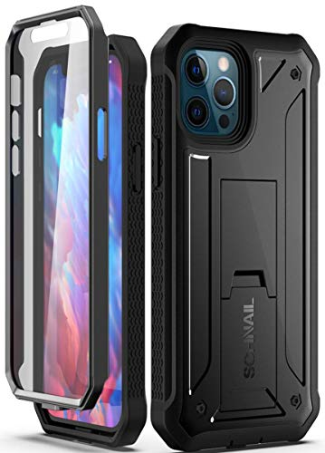 Schnail Titan Compatible with iPhone 12 Pro Max Case 6.7 Inches, Military Grade Drop Tested Heavy Duty Full Body Protective Case with Built-in Screen Protector and Kickstand - Black