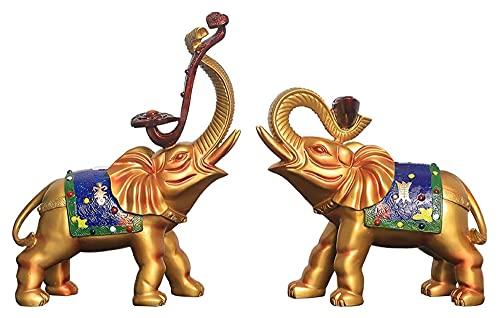 Escultura de escritorio Un par de adornos de elefante Accesorios de decoración para el hogar Artesanías Estatuas de esculturas Estatuas Animales Estatuillas Oficina Decoración de oficina Regal