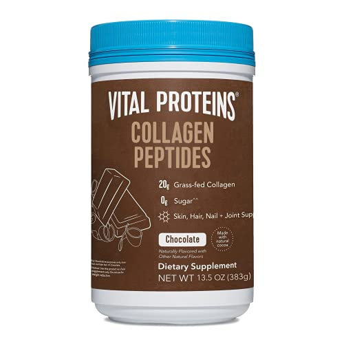 Vital Proteins Chocolate Collagen Powder Supplement (Type I, III) for Skin Hair Nail Joint - Hydrolyzed Collagen - Dairy & Gluten Free - 27g per Serving - Chocolate Flavor, 13.5 oz Canister