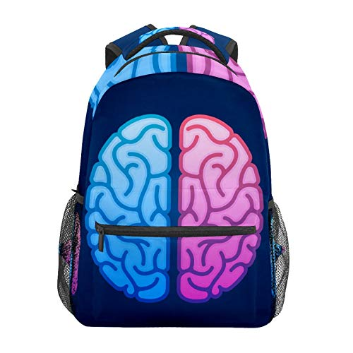 Rucksack für Herren, Gehirn, Halbkugeln, Bildsymbole, Schulrucksack, große Kapazität, Segeltuch, lässiger Reise, Tagesrucksack für Kinder, Erwachsene, Teenager, Damen, Herren