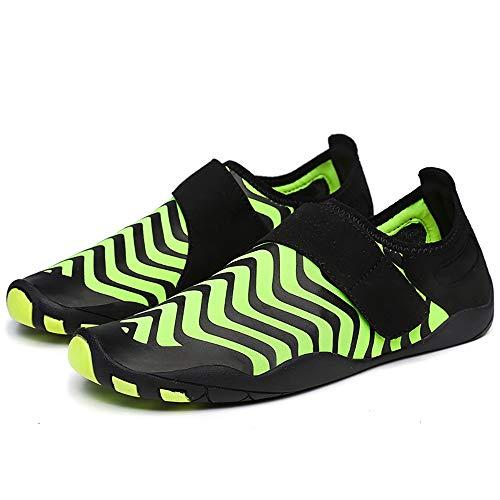 KCCCC Zapatos de Agua Slip-Zapatos en la Playa de Buceo Resistente al Deslizamiento de los Hombres al Aire Libre Wading River Zapatos para Mujeres Hombres (Color : Green, Tamaño : 45-46)