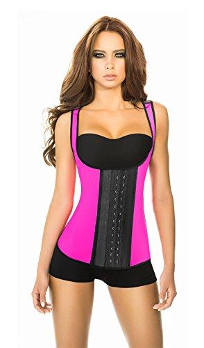 Ann Chery Women's 3 Hooks Body Shaper Latex Sport Vest Shapewear, Pink S/32, 32