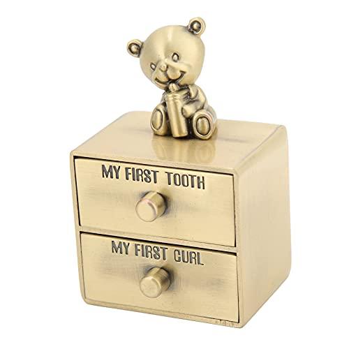Caja para dientes de bebé, organizador de soporte para almacenamiento de dientes, resistente a la corrosión, con forma de osito lindo, aleación de zinc para bebé, niño, niña, nieto(Patina verde)