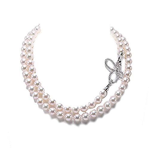 Collana naturale con perle d'acqua di mare Akoya rotonde bianche da 9 mm