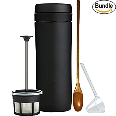 Espro Travel Coffee Press, Stainless Steel, 12 oz (5012C-15BK) Matte Black, Zonoz One-Tablespoon Plastic Clever Scoop & Zonoz 8.25-Inch Wooden Stirring Spoon Bundle