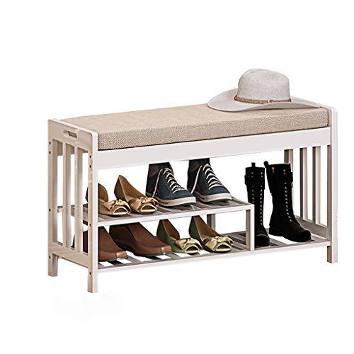 NJ Förvaringspall – Multifunktionell förvaring av bambu förvaringspall, vardagsrum dörr säng förvaring pall sko bänk L 90 cm x B 29 cm x H 49 cm (färg: Vit, storlek: L 90 x B 29 x H 49 cm)