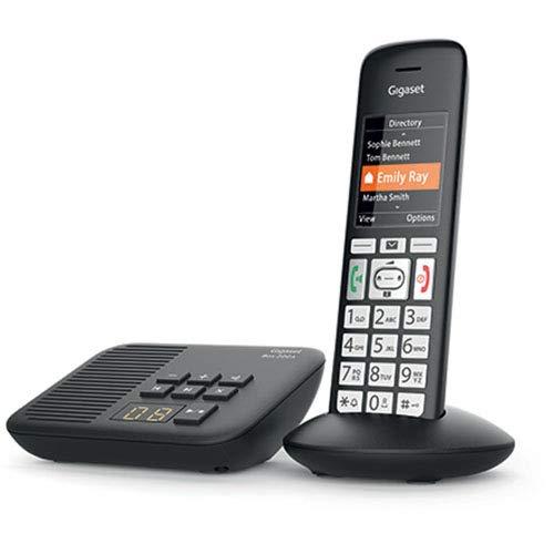 Gigaset E375A / E370A Black Edition Schnurloses Telefon für Senioren mit Anrufbeantworter, mit großen Tasten und SOS-Funktion, einfache Bedienung, extra großes Farbdisplay, einfache Bedienung