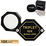 10x Magnifier Jewelry Loupe 20.5mm Triplet Lens Optical Glass Pocket Gem Magnifying Tool for Jeweler, Stamp Philatelist, Coin Numismatic, Achromatic Black Hexagonal Design Kit Set
