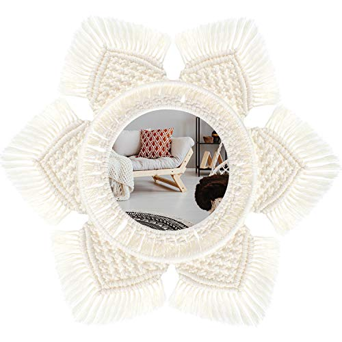 Hanging Wall Mirror with Macrame Fringe Hand Knitting Mirror Bohemian Macrame Mirror Geometric Design Mirror for Apartment Living Room Bedroom Decoration Home