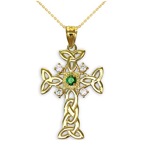 10k Yellow Gold Trinity Knot Diamond Celtic Cross Pendant Necklace with Genuine Emerald, 22'
