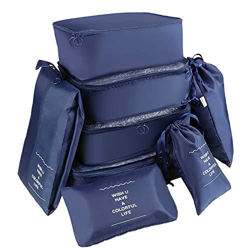 Coolty 8 Stück Organizer unibelin, Reise Kleidertaschen Gepäck Organizer Multi Use Kofferorganizer Packtaschen Reisegepäck Kleidertaschen-Set für Kleidung Schuhe Unterwäsche Kosmetik (Navy Blau 1)
