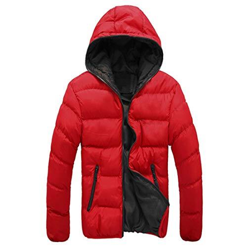 Mantel Herren Jacke Herren Reißverschluss Lässig Bequem Warm Herren Daunenmantel Winterjacke Outdoor Skifahren Herren Mantel Einfachheit Jugendjacke Red_ XXL