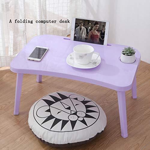 LSXLSD Tavolino for Camera da Letto - Pieghevole Pigro Fare Table - Dormitorio Desk (Color : Purple)