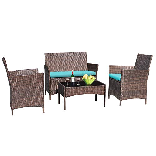 Greesum 4 Pieces Patio Furniture Sets, Rattan Wicker Chair, Outdoor Conversation Sets for Garden Balcony Porch Poolside with Glass Coffee Table, Brown and Blue