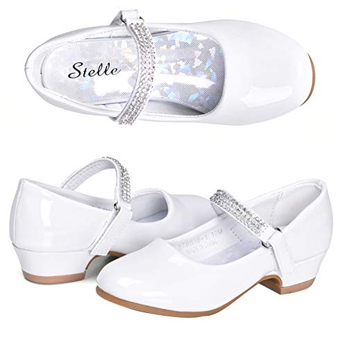 STELLE Girls Mary Jane Shoes Low Heel Party Dress Shoes for Kids (9MT, T02-White)