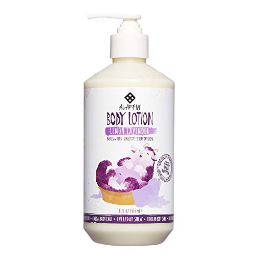 Alaffia - EveryDay Shea Body Lotion, Gentle for Babies and Up, Gently Helps Clean Skin and Calm Children with Shea Butter, Lemon Balm, and Lavender Oil, Fair Trade, Lemon Lavender, 16 Ounces