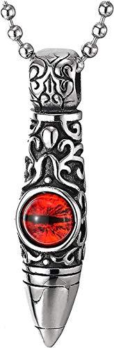 Zaaqio Hombres Mujeres Acero Vintage Tribal Gráfico Tatuaje Bala Colgante Collar Rojo Estilo Retro