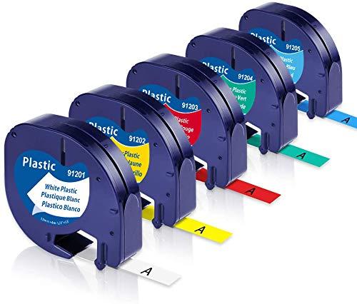 Unistar – Cinta de Etiquetas Compatible para Usar en Lugar de Dymo LetraTag Recambio 91201-91205 Plastico Cinta Etiquetas 12mm x 4m para LT100h LT100T LT110T, 5-Pack Blanco/Rojo/Amarillo/Azul/Verde