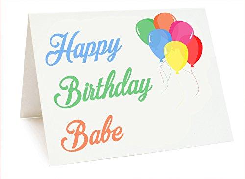 Ballon Themed Verjaardagskaart - Gelukkige Verjaardag Babe - Liefhebber - Partner - Vrouw - Vriendin - Man - Vriendje