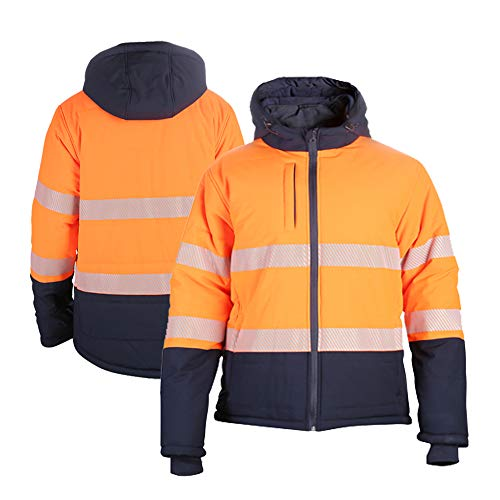 Vendace High Visibility Safety Quilted Padding Jacket for Men, ANSI Class 3 Puffer Coat Cotton Filling(Orange,L)