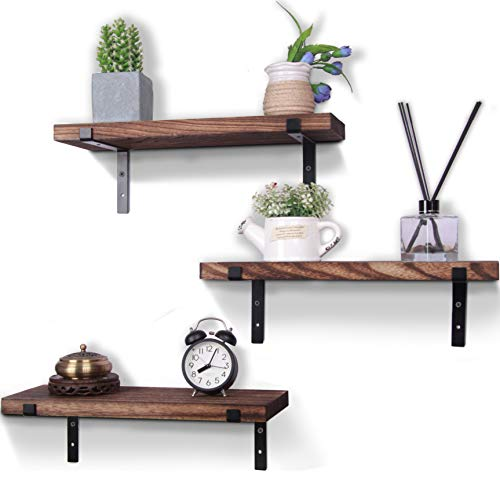 HXSWY Rustic Wood Floating Shelves Farmhouse Wooden Wall Shelves for Bathroom Bedroom Living Room Kitchen Office Brown Set of 3