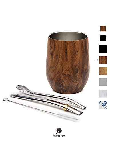 BALIBETOV - Neu - Modernes Yerba Mate Gourd Set (Mate Tasse) - Doppelwandiger 18/8 Edelstahl Enthält Zwei Bombillas und eine Reinigungsbürste (Holz, 355 ml)