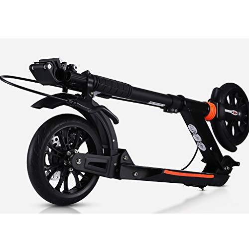 WYQ Tretroller for Erwachsene Aluminium Alloy Commuter Scooter Support 150kg, Nicht-elektrischer Klapproller mit Scheibenbremsen, Einstellbarer Lenker (Farbe : Schwarz)