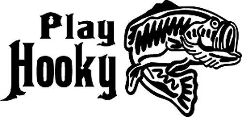 PotteLove Play Hooky Fishing Decal 6 vinilo adhesivo decorativo para ordenador portátil, nevera, guitarra, coche, motocicleta, casco, maletas, decoración de 4 pulgadas de ancho