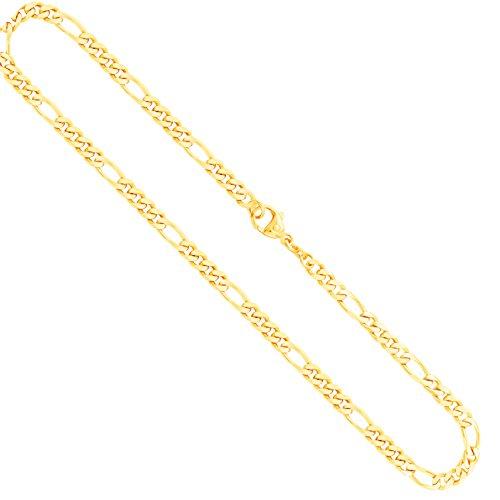 Goldkette, Figarokette diamantiert Gelbgold 585/14 K, Länge 50 cm, Breite 4.3 mm, Gewicht ca. 21.1 g, NEU