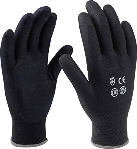 Meister Handschuh Gr. 9 / L - Schwarz - 12 Paar im praktischen Set - Beschichtete Innenhandflächen - Gute Griffigkeit & Tastempfinden / Schutzhandschuhe / Montagehandschuhe / 9004200
