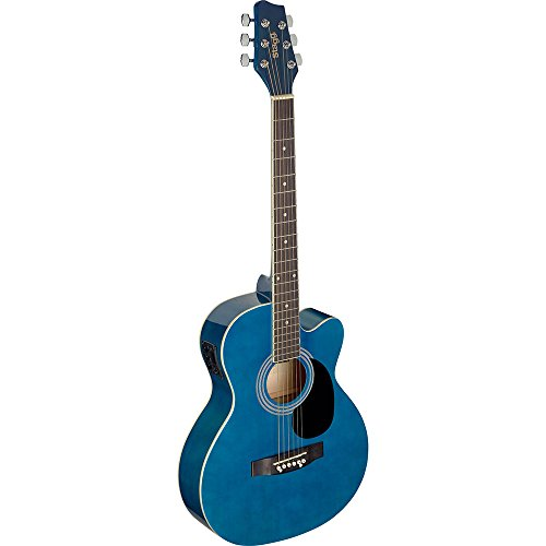 Stagg 6 String Auditorium Cutaway Electro-Acoustic Guitar - Blue, Right, SA20ACE