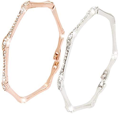 Silver & Gold Bangles Bracelets for Women - Statement Piece - Quality Crystal Inlay - British Design - With Gift Box + Polishing Cloth - U.K Jewellers, U.K Quality
