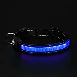 HongTu LED Dog Collar for Night Visible Safety Walking,USB Rechargeable,3 Mode Glowing Flashing Light