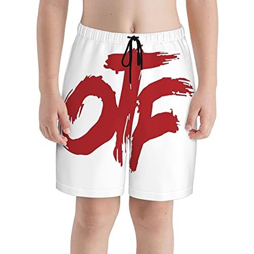 ZHENJBNAN OTF L-I-L Du+Rk Youth Boys Girls Quick Dry Breathable Swim Trunk Beach Shorts White
