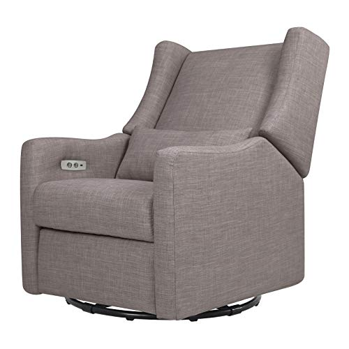 Babyletto Kiwi Electronic Recliner and Swivel Glider with USB Port, Grey Tweed