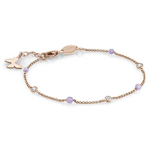 Nomination 142640/011 Bella - Pulsera para mujer de plata 925 con circonitas transparentes y jade (17 cm)
