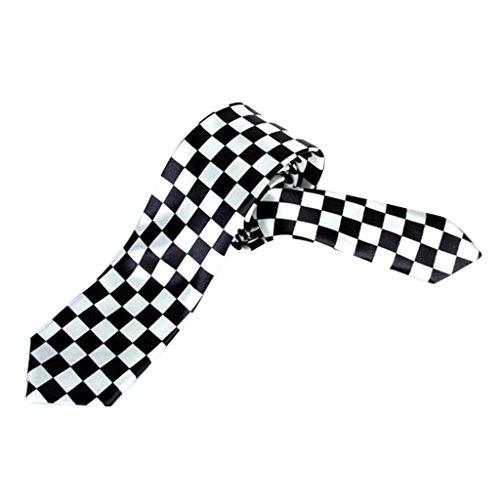 Homme Cravate à Carreaux Longueur 134cm - Blanc et Noir