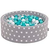 KiddyMoon 90X30cm/200 Balles ∅ 7Cm Piscine À Balles pour Bébé Rond Fabriqué en UE, Étoiles Blanc-Gris: Turq Clair-Blanc-Transp-Turq