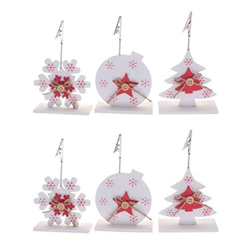 VOSAREA 6 Piezas Soporte Número de Mesa de Árbol Navidad Copo de Nieve Bola de Navidad Portafotos Pinza...
