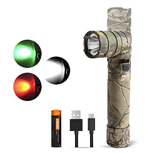 NICRON Taschenlampe LED USB Aufladbare, 90 Grad Drehbar Kopf, 1200 Lumen Weiß Licht, Rotlicht Grün Licht 10 Lumen, IP65 Wasserdicht für Outdoor Jagd mit Magnet, 18650 Batterie inklusive B70P