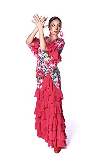 Vestido de Mujer para Baile Flamenco o sevillanas. Estampado Floral, Manga 3/4 con Volante. Tejido elástico. Fabricado en España (Fucsia, L)