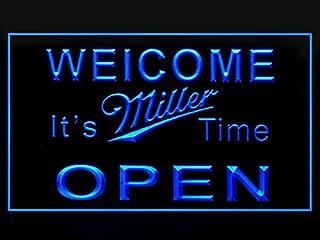 Welcome It's Miller Time OPEN Hub Bar Advertising LED Light Sign P840B