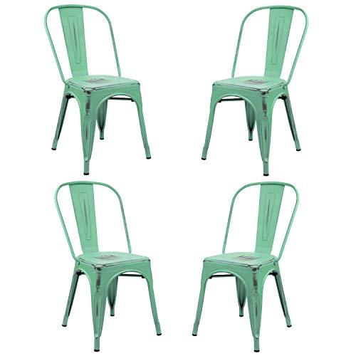 Vaukura Silla Tolix (Pack 4) - Silla Industrial Metálica Vintage (Verde Menta)