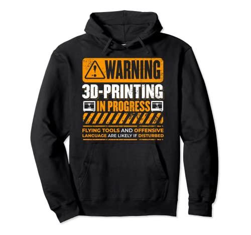 Impresora 3D de advertencia vintage en curso Nerdy 3D Sudadera con Capucha