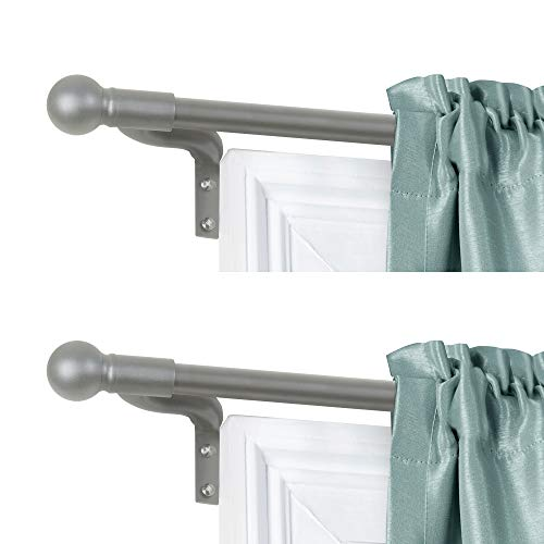 Zenna Home, 18 to 48, Brushed Nickel, Easy to Install Smart Measuring Adjustable Café Window Rod with Ball Finials (2-Pack), 18 inches to 48 inches, 2 Count
